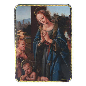 Russian papier machè box Our Lady with Baby Jesus and San Giovannino Fedoskino style 15x11 cm