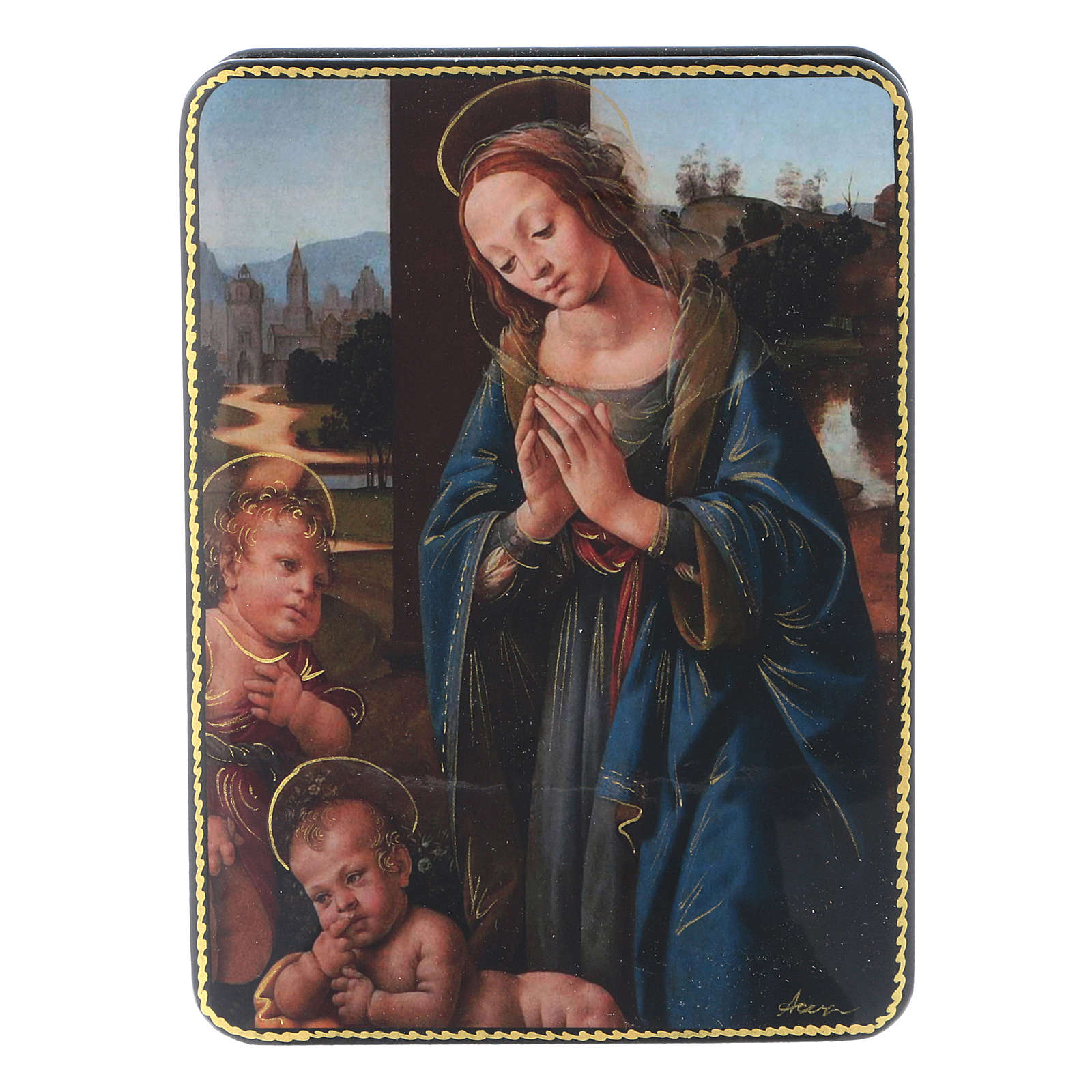 Scatola russa cartapesta Madonna Bambino S. Giovannino Fedoskino style 15x11 4
