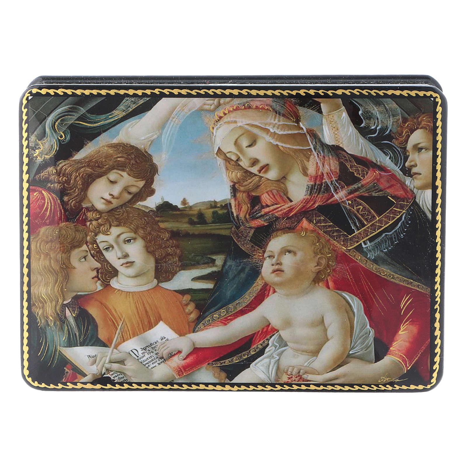 Lacca russa Papier-mâché Adorazione Bambino S. Giovannino Fedoskino style 15x11 4