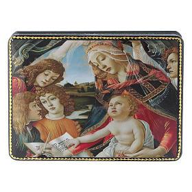 Lacca russa Papier-mâché Adorazione Bambino S. Giovannino Fedoskino style 15x11 s1