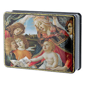 Lacca russa Papier-mâché Adorazione Bambino S. Giovannino Fedoskino style 15x11 s2