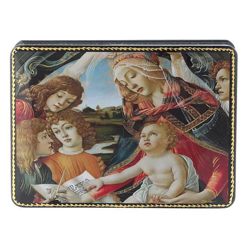 Lacca russa Papier-mâché Adorazione Bambino S. Giovannino Fedoskino style 15x11 1