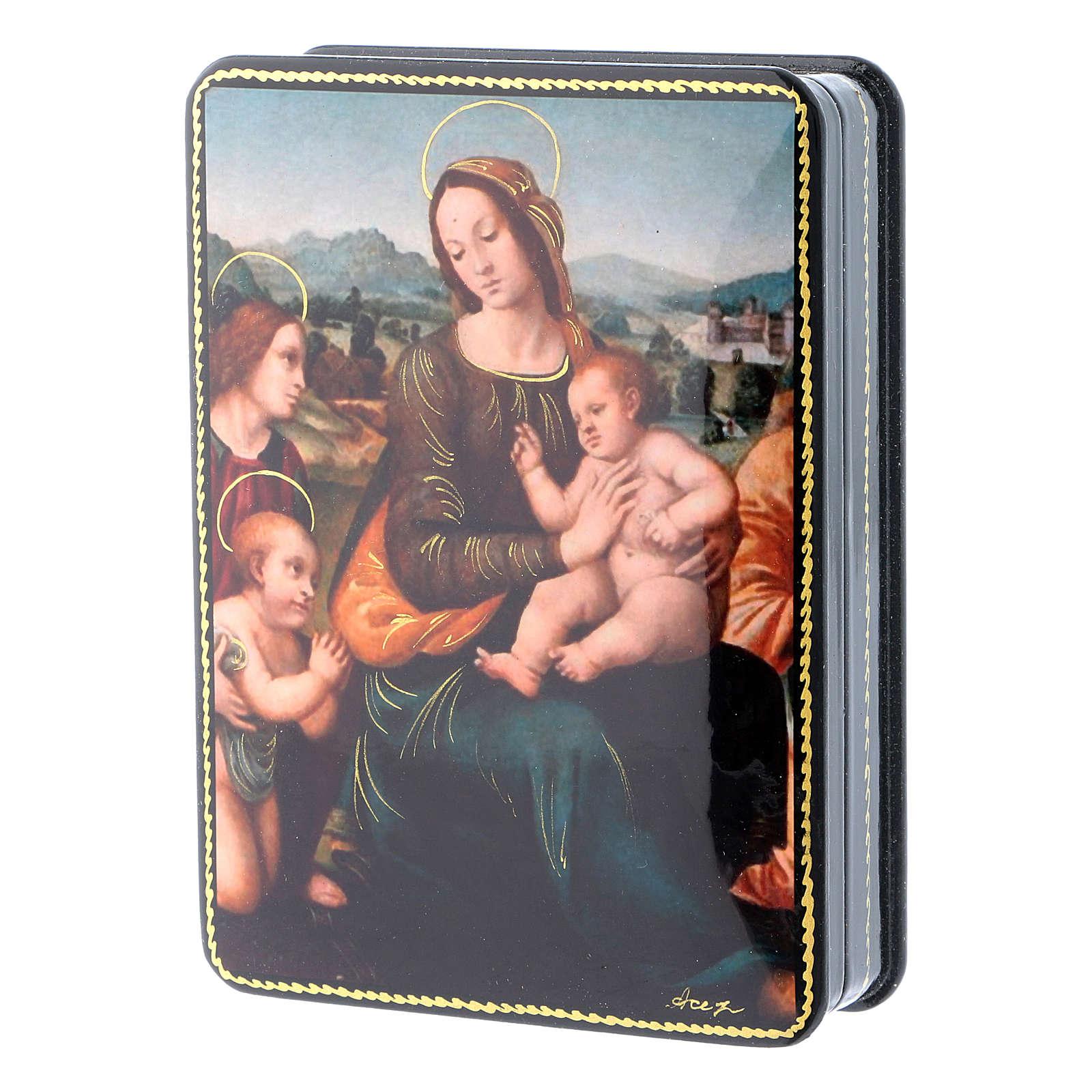 Scatola russa cartapesta Madonna del Melograno Fedoskino style 15x11 4