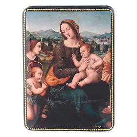 Scatola russa cartapesta Madonna del Melograno Fedoskino style 15x11 s1