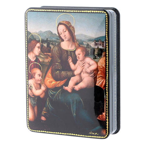 Scatola russa cartapesta Madonna del Melograno Fedoskino style 15x11 2