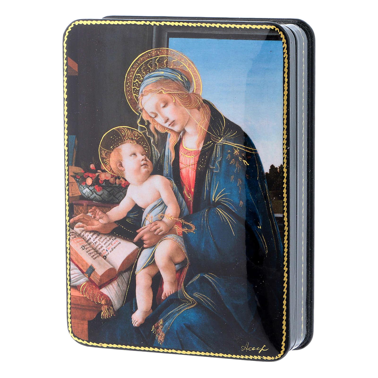 Lacca russa cartapesta La Madonna del Magnificat Fedoskino style 15x11 4