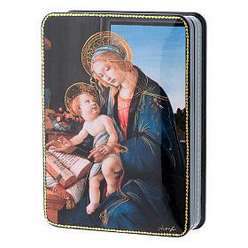 Lacca russa cartapesta La Madonna del Magnificat Fedoskino style 15x11 s2