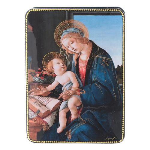 Lacca russa cartapesta La Madonna del Magnificat Fedoskino style 15x11 1