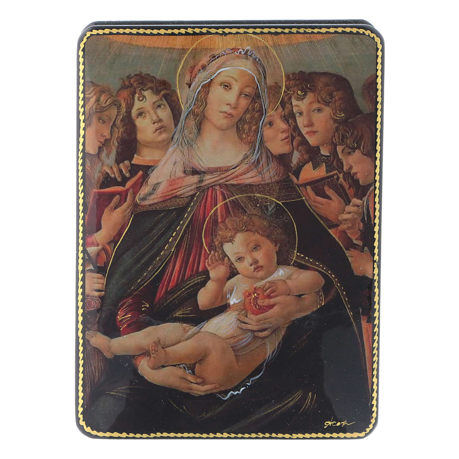 Scatola russa Papier-mâché Nascita Gesù Cristo Fedoskino style 15x11 4