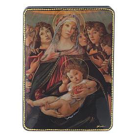 Scatola russa Papier-mâché Nascita Gesù Cristo Fedoskino style 15x11 s1