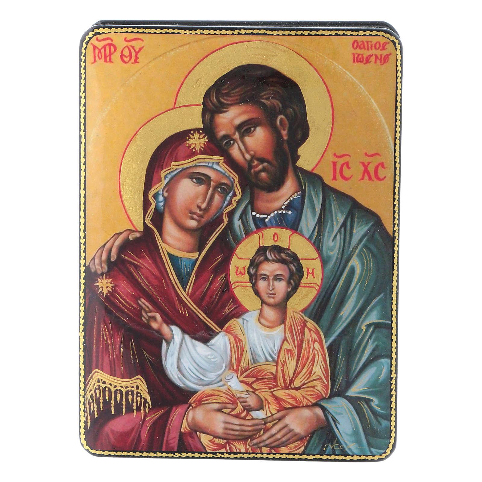 Lacca russa cartapesta Nascita Gesù Cristo Maestro Ignoto Fedoskino style 15x11 4
