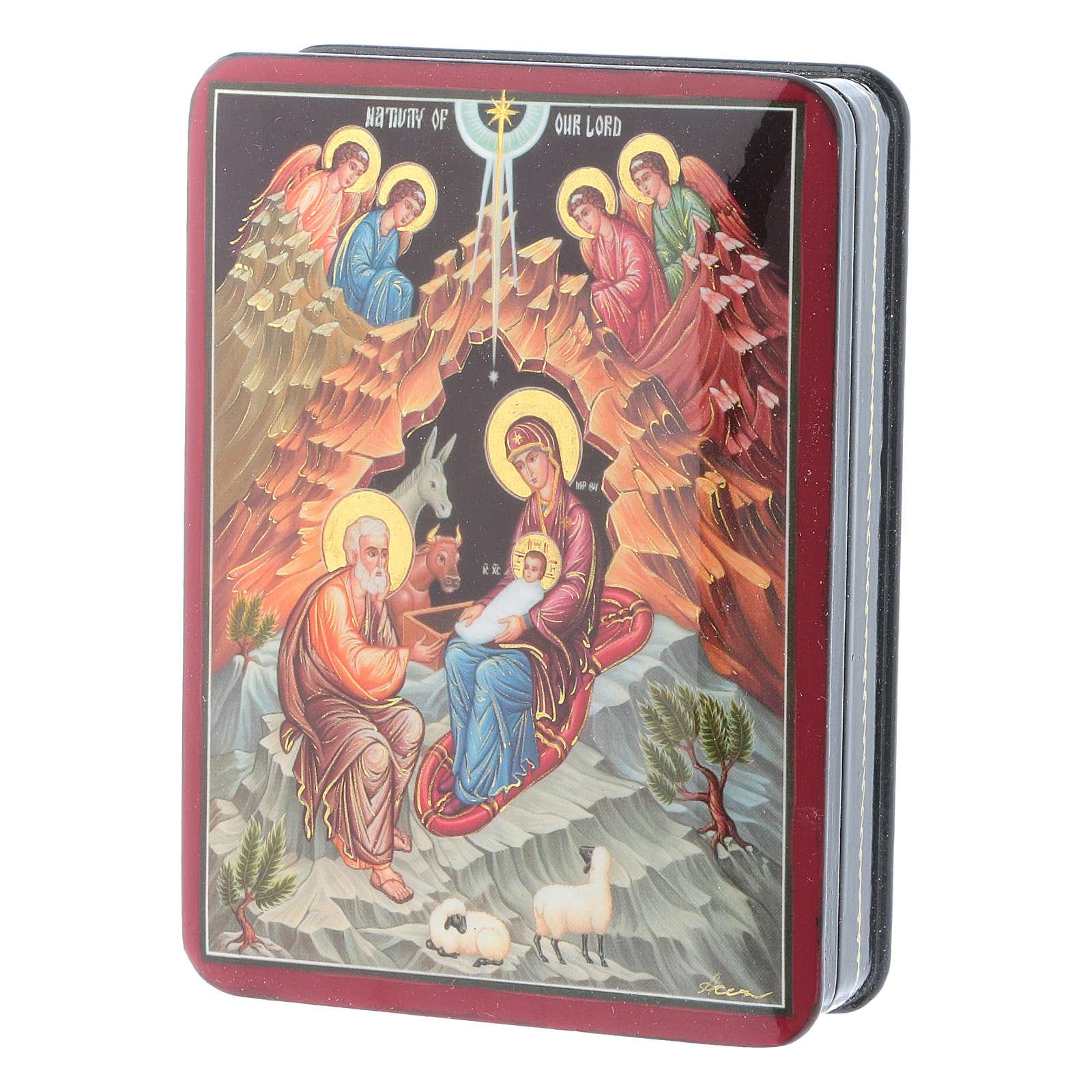 Scatola russa Papier-mâché Sacra Famiglia Fedoskino style 15x11 4