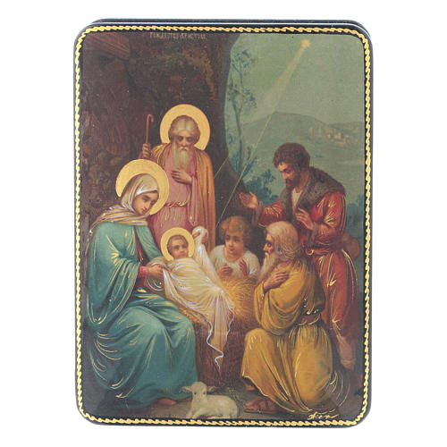 Scatola russa cartapesta Nascita di Cristo Fedoskino style 15x11 1