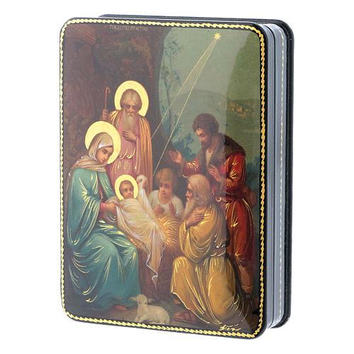 Scatola russa cartapesta Nascita di Cristo Fedoskino style 15x11 2