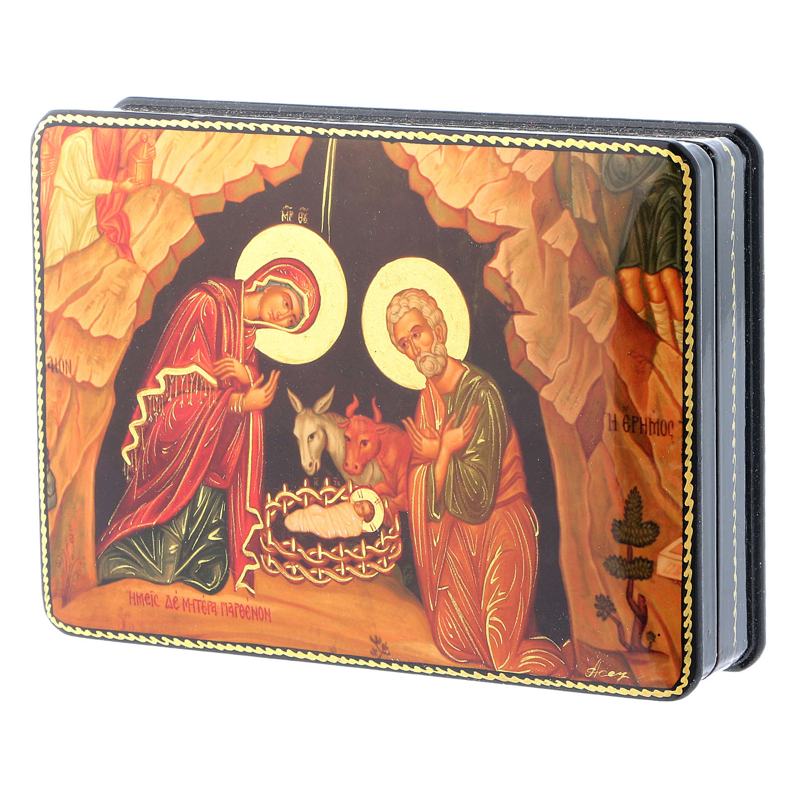 Russian papier machè and lacquer box Madonna of the Book Fedoskino style 15x11 cm 4