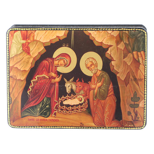 Russian papier machè and lacquer box Madonna of the Book Fedoskino style 15x11 cm 1