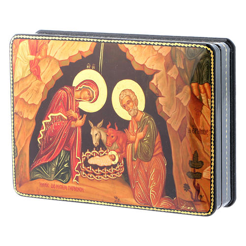 Russian papier machè and lacquer box Madonna of the Book Fedoskino style 15x11 cm 2