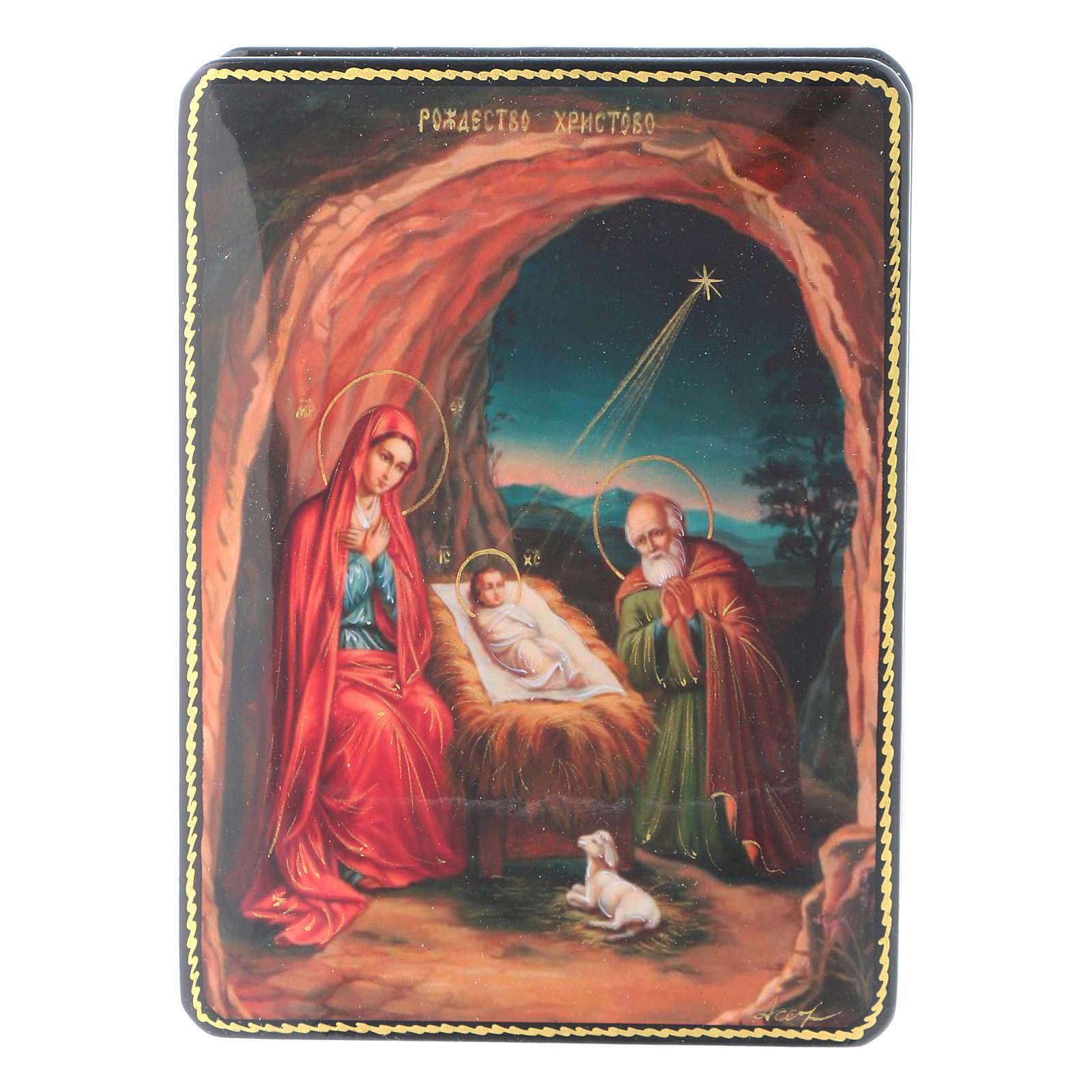 Scatola russa cartapesta Nascita Gesù Cristo Fedoskino style 15x11 4