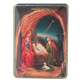 Scatola russa cartapesta Nascita Gesù Cristo Fedoskino style 15x11 s1