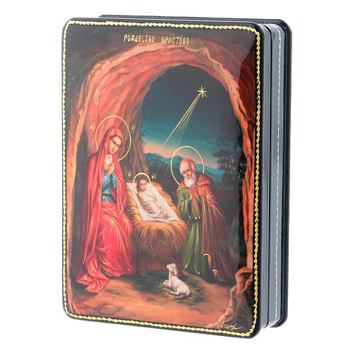 Scatola russa cartapesta Nascita Gesù Cristo Fedoskino style 15x11 2