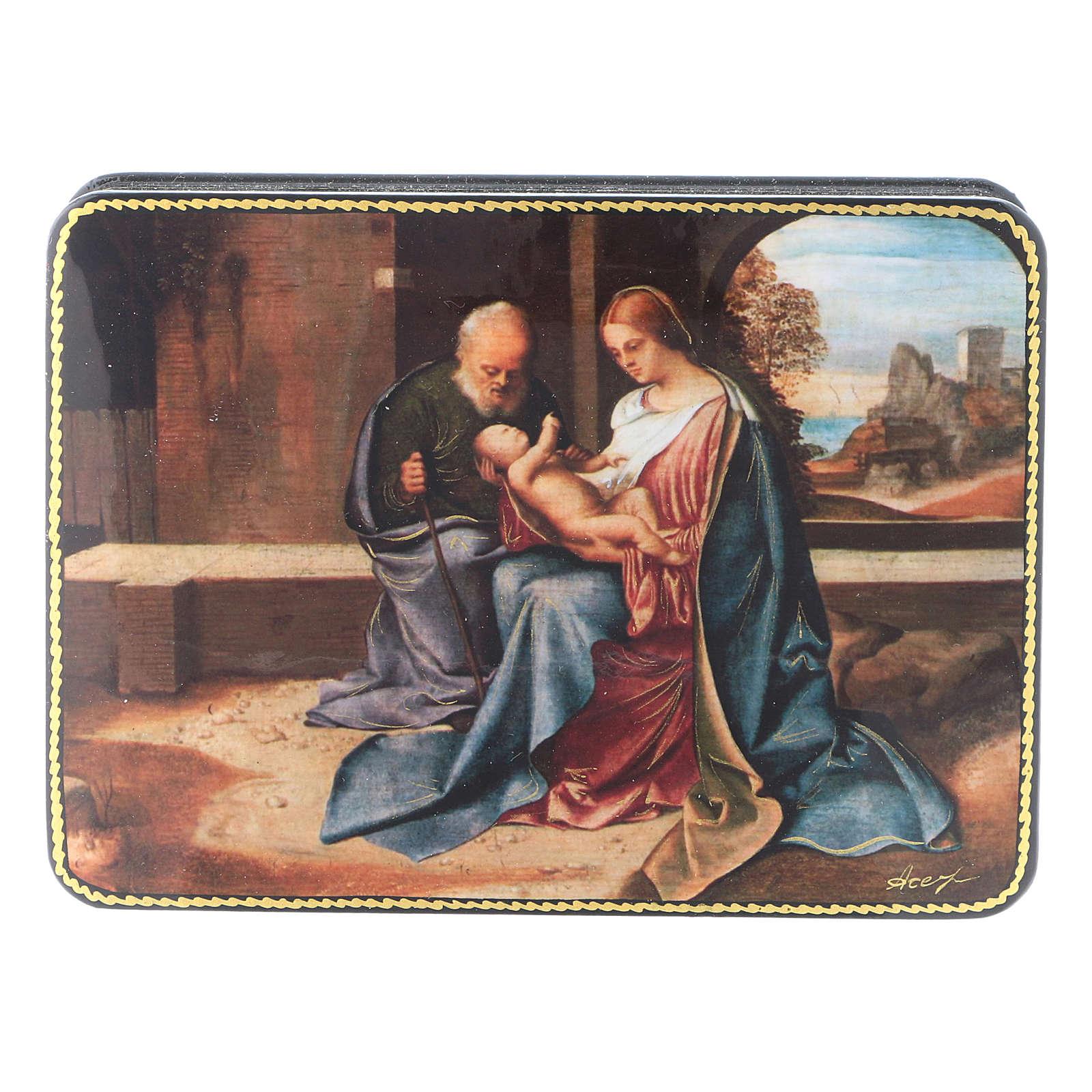 Scatola russa cartapesta Nascita Gesù rinascimentale Fedoskino style 15x11 4
