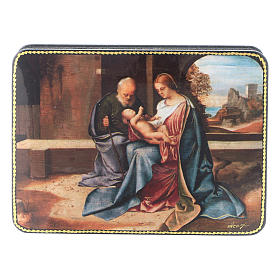 Scatola russa cartapesta Nascita Gesù rinascimentale Fedoskino style 15x11 s1