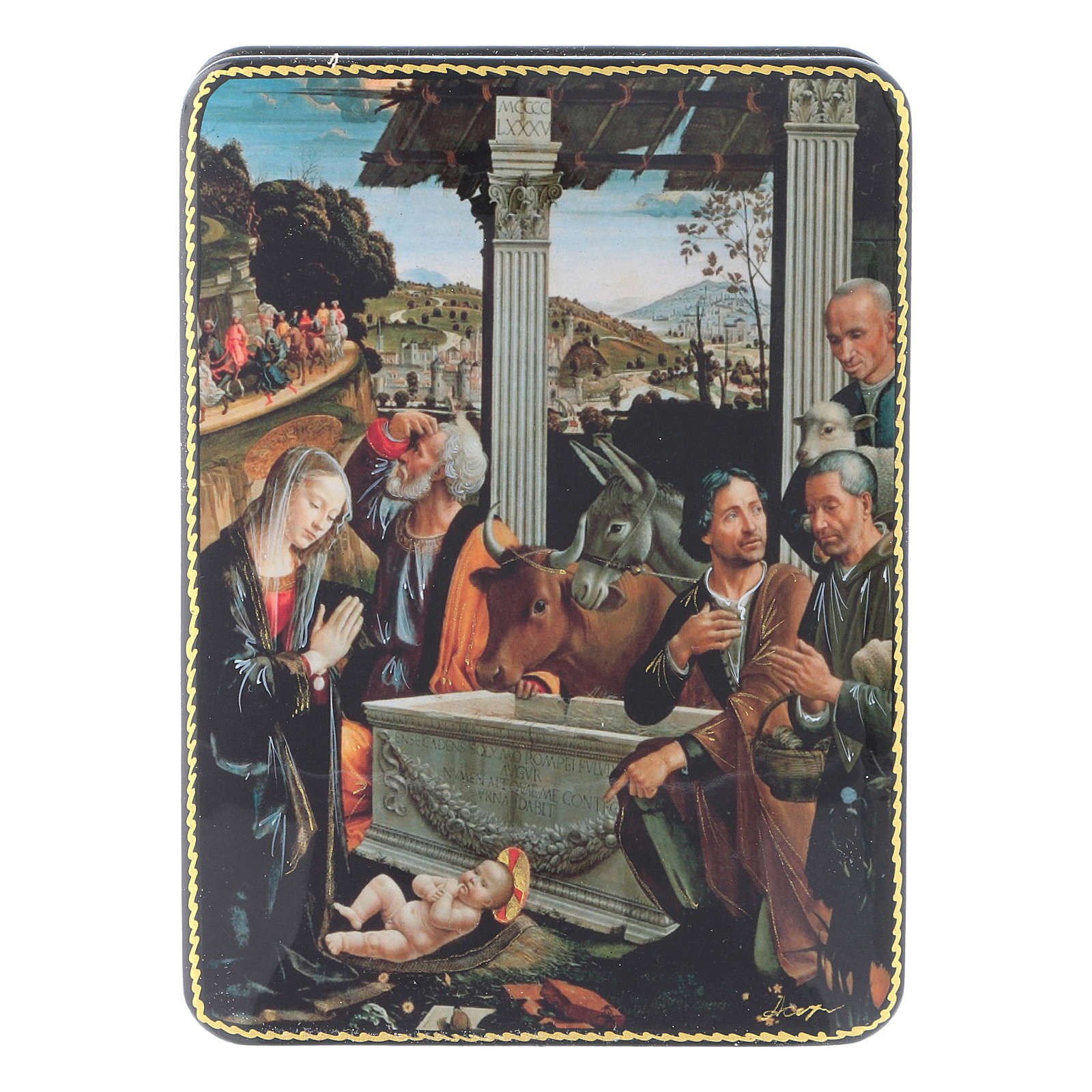 Scatola russa cartapesta Adorazione dei Pastori Fedoskino style 15x11 4