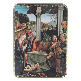 Scatola russa cartapesta Adorazione dei Pastori Fedoskino style 15x11 s1