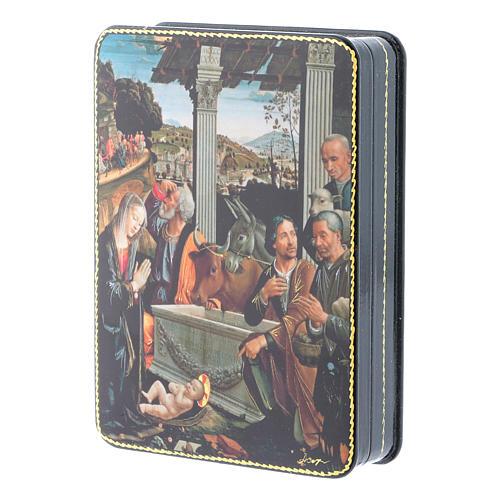 Scatola russa cartapesta Adorazione dei Pastori Fedoskino style 15x11 2