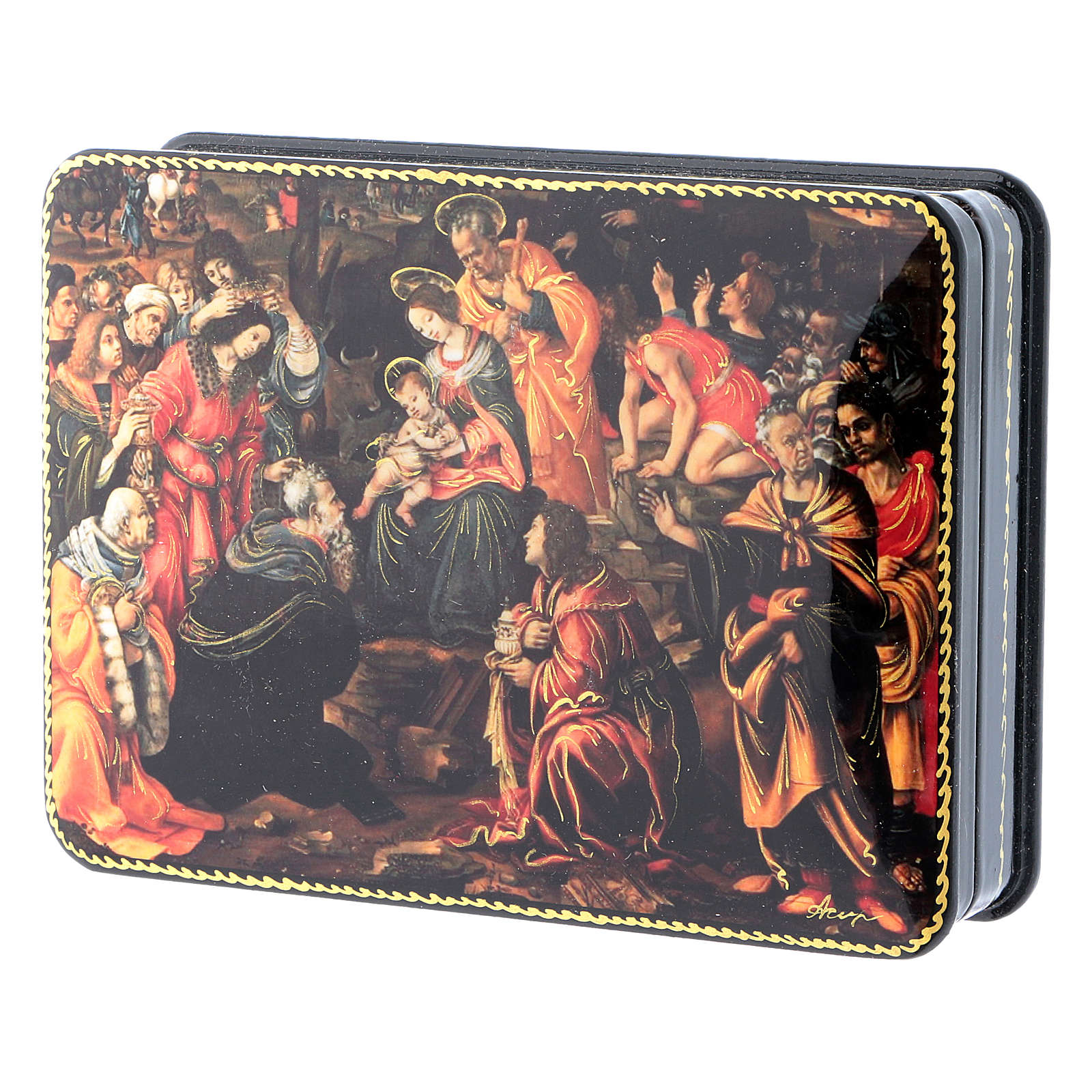 Russian lacquer and papier-machè box Adoration of the Three Wise Men Fedoskino style 15X11 cm 4