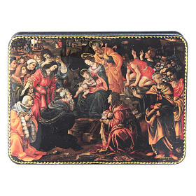 Russian lacquer and papier-machè box Adoration of the Three Wise Men Fedoskino style 15X11 cm s1