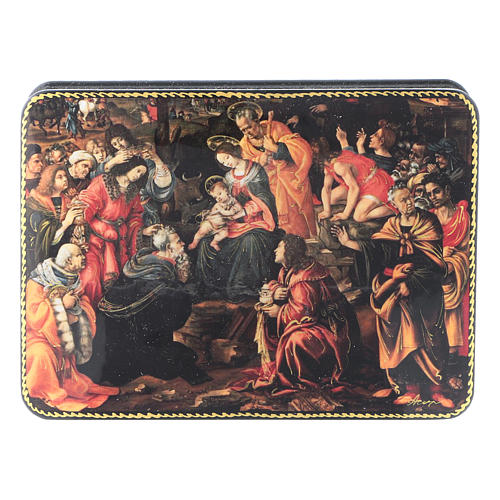 Russian lacquer and papier-machè box Adoration of the Three Wise Men Fedoskino style 15X11 cm 1