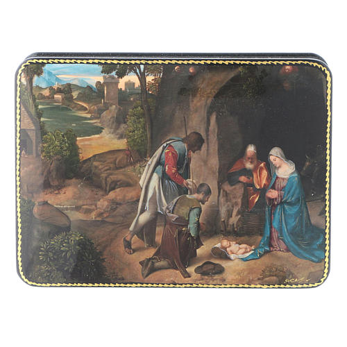 Russian lacquer and papier-mâché box The Shepherds in Adoration of the Holy Family Fedoskino style 15x11 cm 1