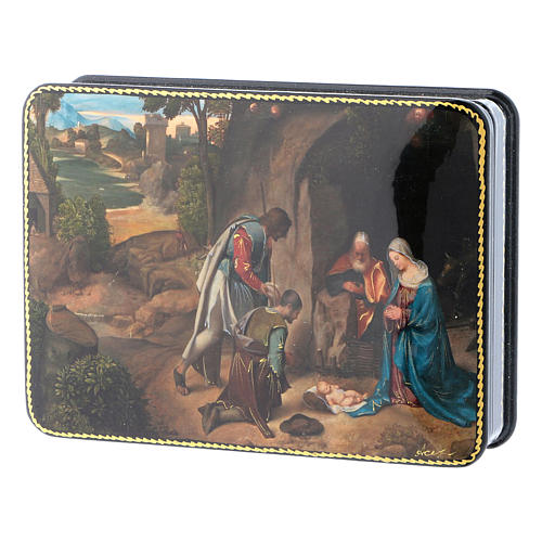 Russian lacquer and papier-mâché box The Shepherds in Adoration of the Holy Family Fedoskino style 15x11 cm 2