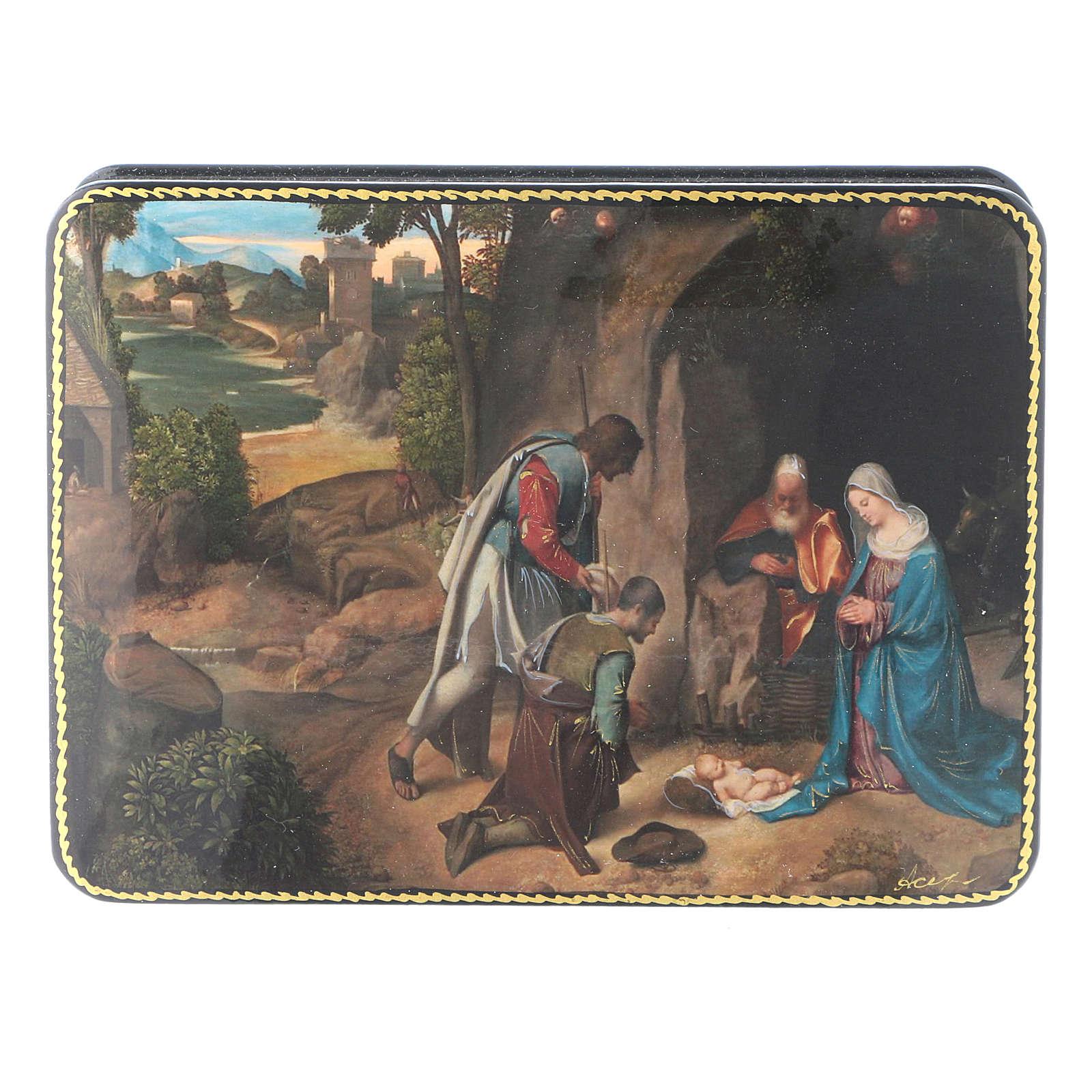 Lacca russa cartapesta Adorazione dei Pastori Natività Fedoskino style 15x11 4
