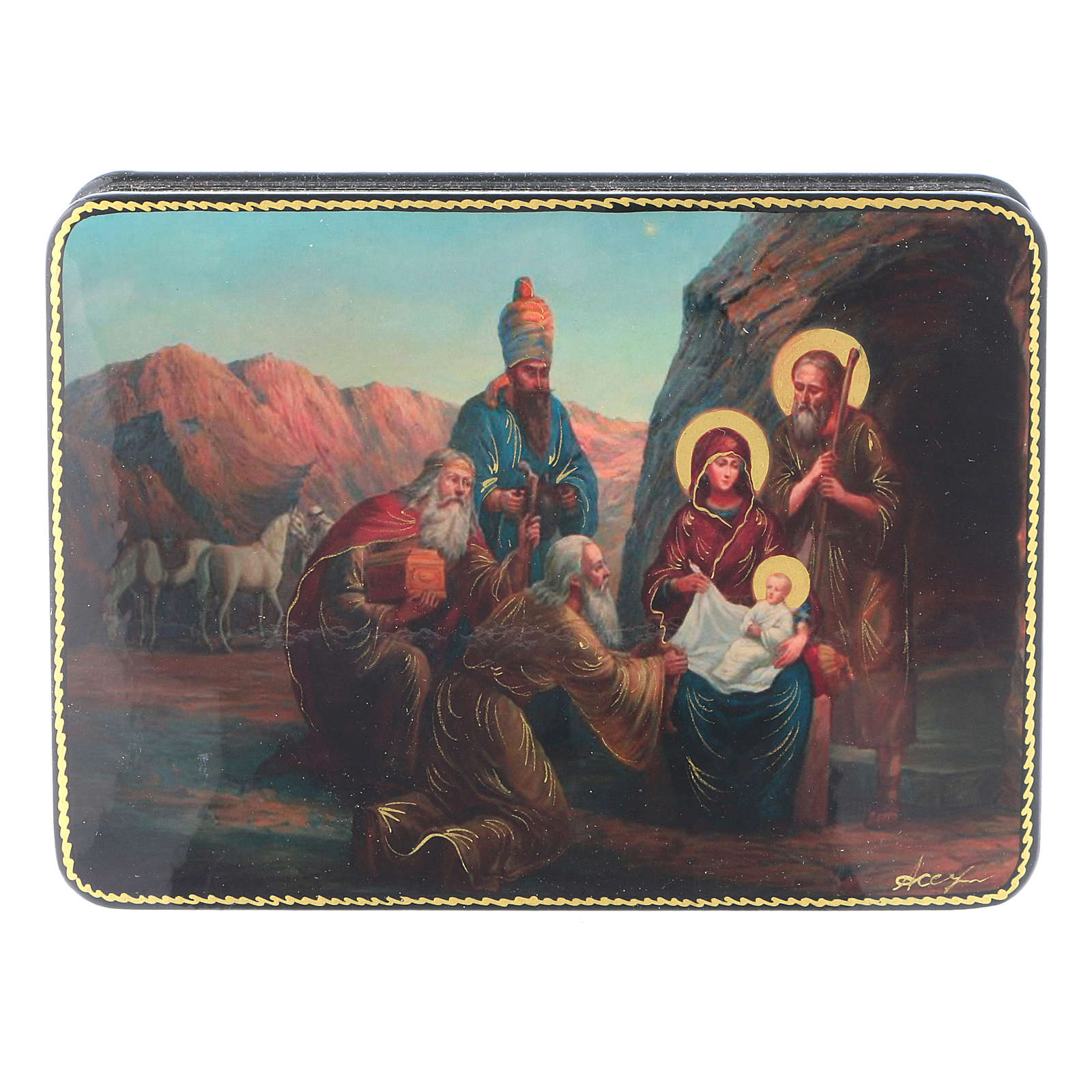 Scatola russa Papier-mâché Nascita Gesù Adorazione Magi Fedoskino style 15x11 4