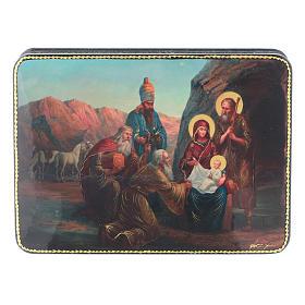 Scatola russa Papier-mâché Nascita Gesù Adorazione Magi Fedoskino style 15x11 s1