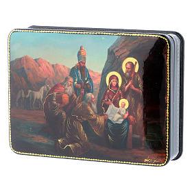 Scatola russa Papier-mâché Nascita Gesù Adorazione Magi Fedoskino style 15x11 s2