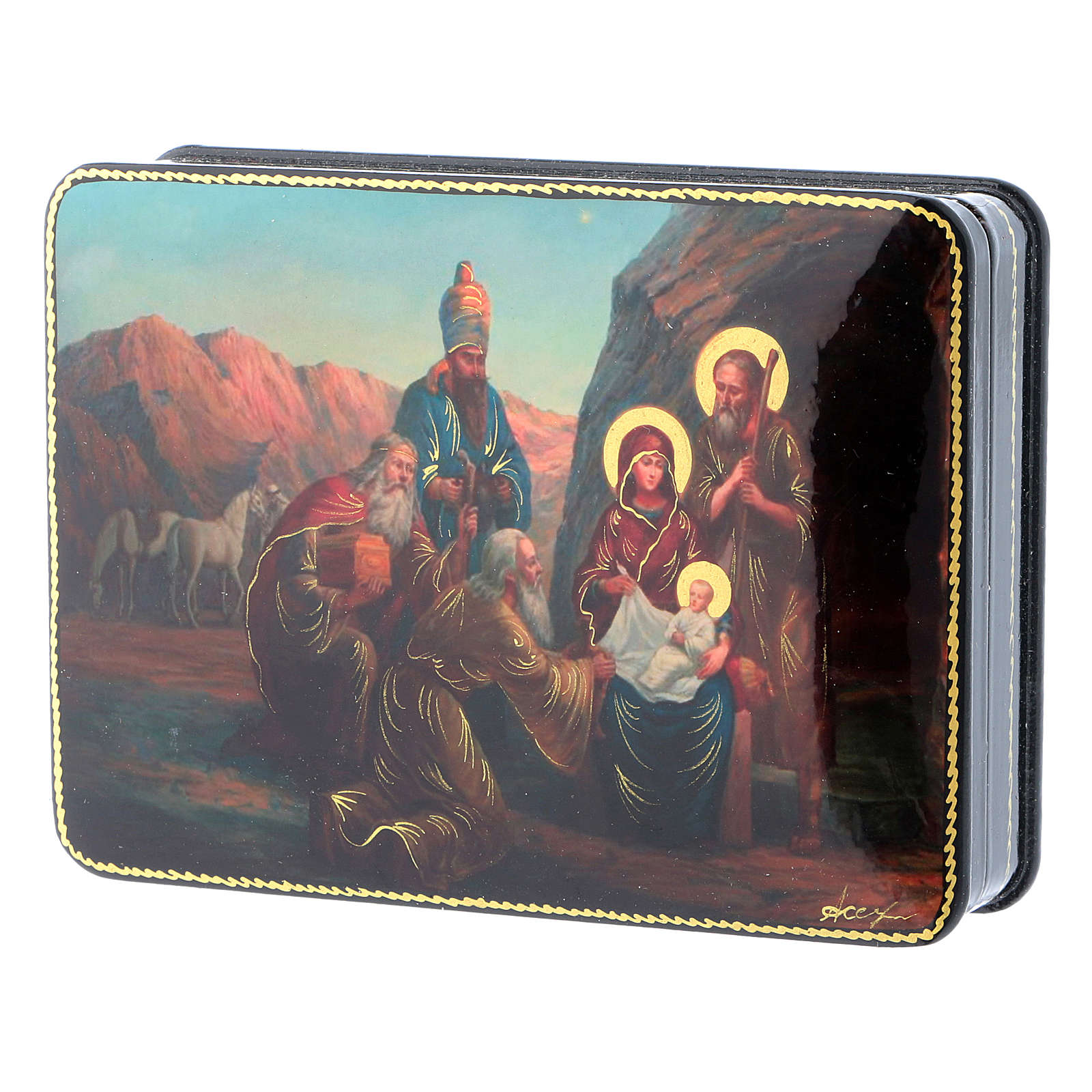 Russian lacquer and papier-mâché box The Three Wise Men in Adoration of Baby Jesus Fedoskino style 15x11 cm 4