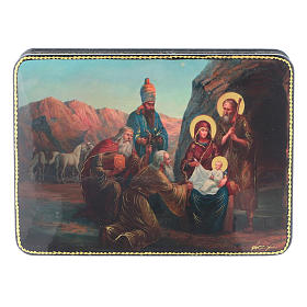 Russian lacquer and papier-mâché box The Three Wise Men in Adoration of Baby Jesus Fedoskino style 15x11 cm s1