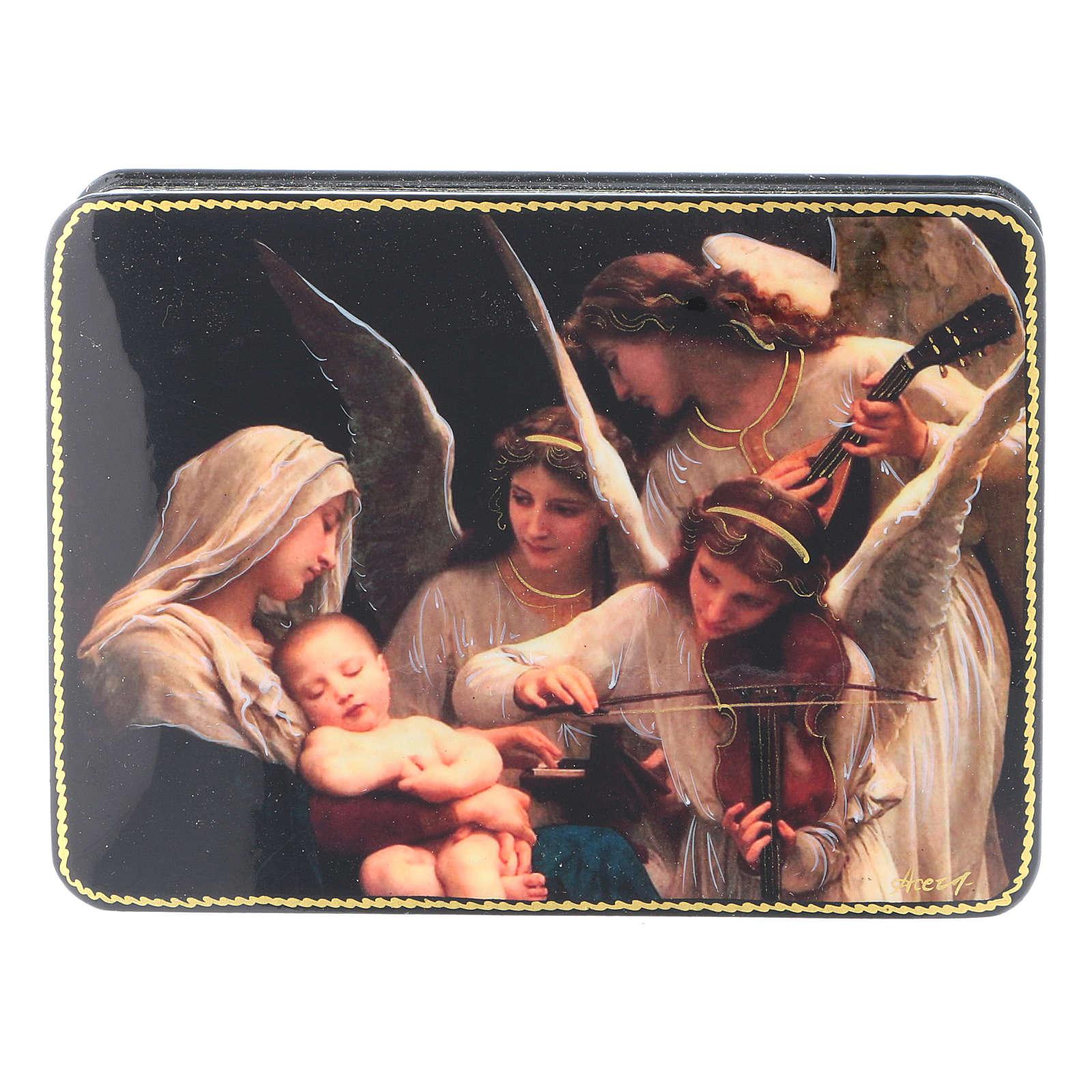Lacca russa cartapesta Il Canto degli Angeli Fedoskino style 15x11 4