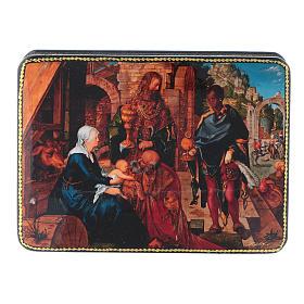 Scatola russa cartapesta Adorazione dei Magi Dürer Fedoskino style 15x11 s1