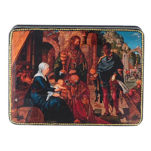 Scatola russa cartapesta Adorazione dei Magi Dürer Fedoskino style 15x11 1