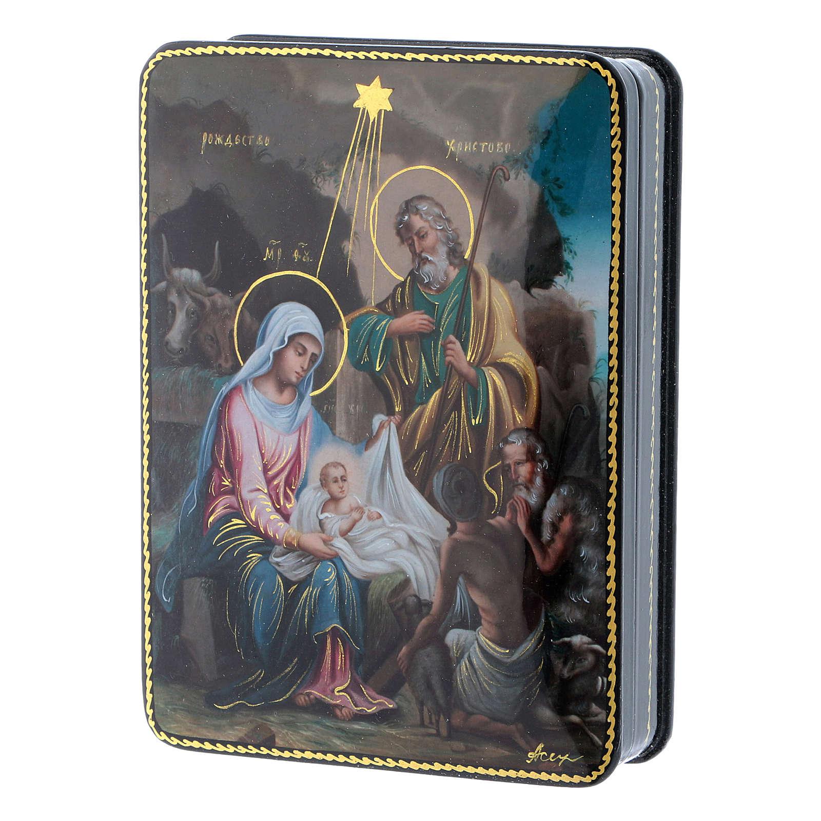 Lacca russa cartapesta Cristo Nascita Fedoskino style 15x11 4