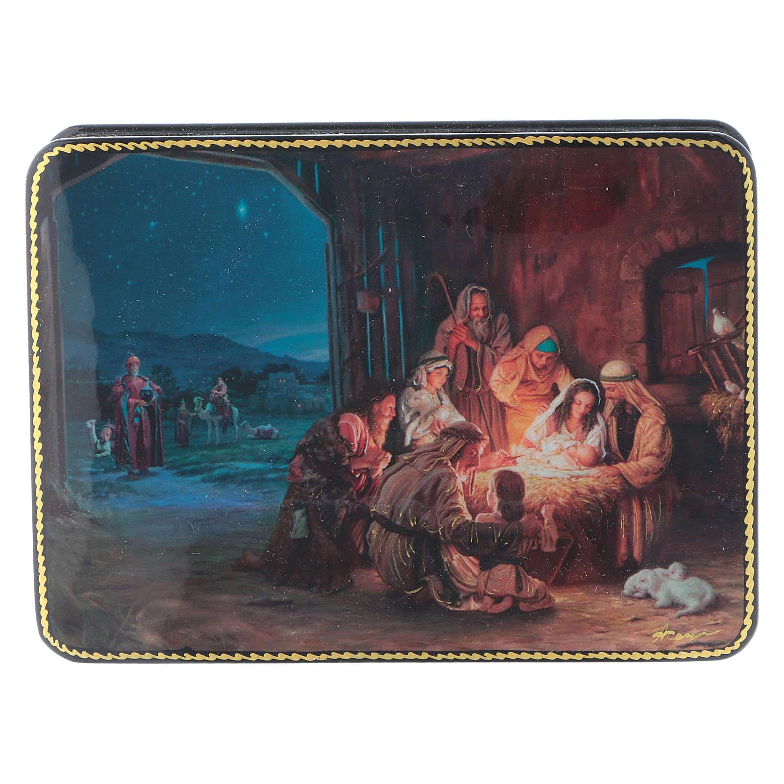 Scatola russa cartapesta Nascita Cristo e Adorazione Fedoskino style 15x11 4