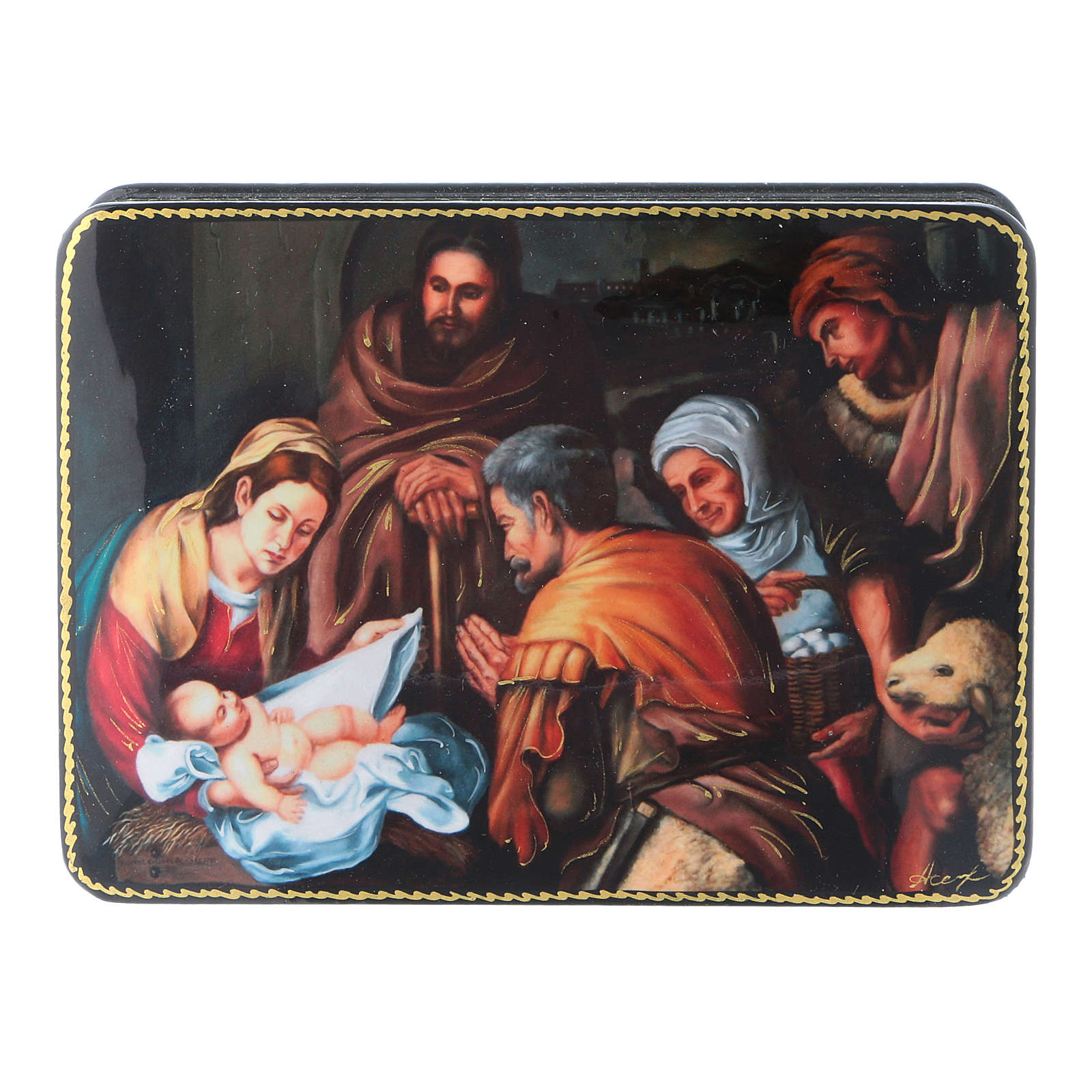 Russian box in papier-mâché the Birth of Christ of Murillo Fedoskino style 15x11 cm 4