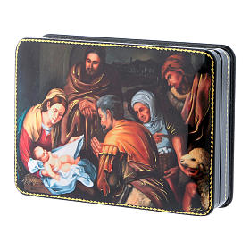 Russian box in papier-mâché the Birth of Christ of Murillo Fedoskino style 15x11 cm s2