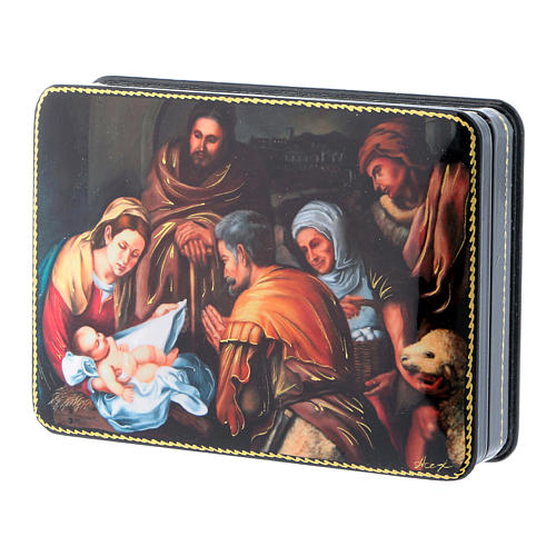 Russian box in papier-mâché the Birth of Christ of Murillo Fedoskino style 15x11 cm 2