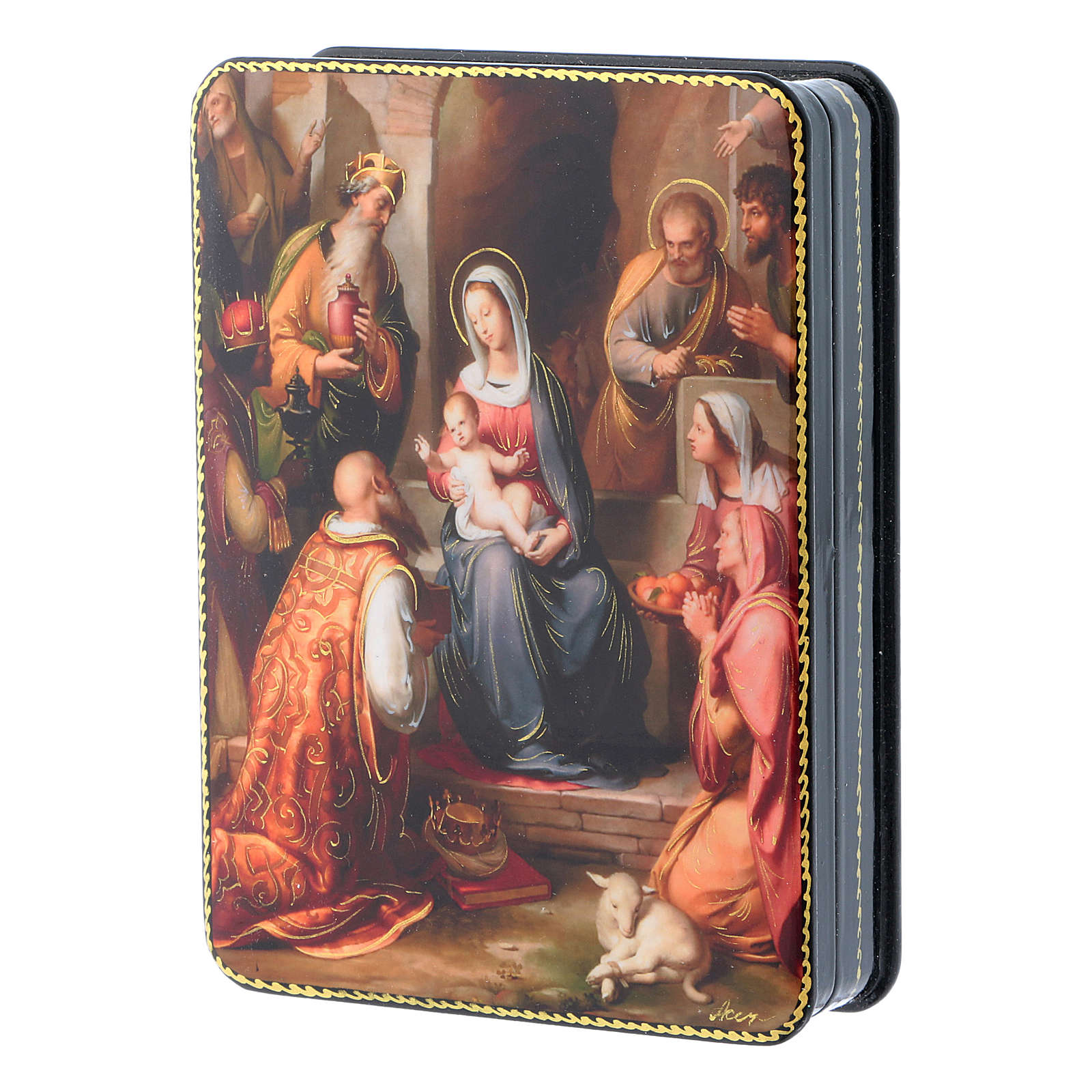 Russian box in papier-mâché the Holy Family from Rohden Fedoskino style 15x11 cm 4