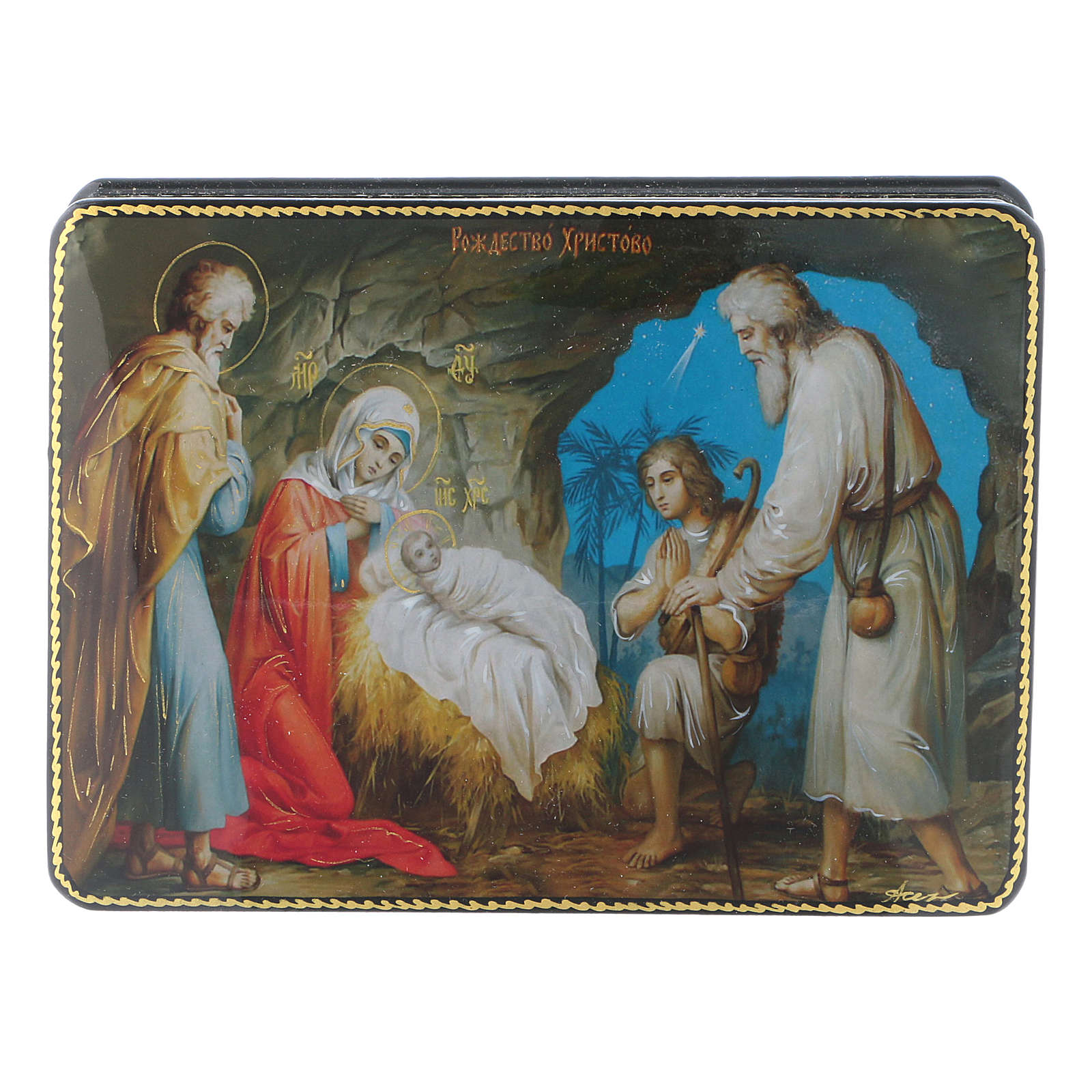 Russian box in papier-mâché the Birth of Christ Fedoskino style 15x11 cm 4